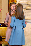 Princess Leonor of Spain (r) and Princess Sofia of Spain attend the Order of Golden Fleece (Toison de Oro), ceremony at the Royal Palace . January 30,2018. (ALTERPHOTOS/Pool)