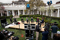 United States President Donald J. Trump, right, and US Vice President Mike Pence, center right, participate in a Fox News Virtual Town Hall with Anchor Bill Hemmer, in the Rose Garden of the White House in Washington, DC, Tuesday, March, 24, 2020. Looking on are US Surgeon General Vice Admiral (VADM) Jerome M. Adams, M.D., M.P.H., left, and Dr. Deborah L. Birx, White House Coronavirus Response Coordinator, center left,<br /> Credit: Doug Mills / Pool via CNP/AdMedia
