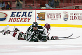 Kevan Kilistoff (Dartmouth - 16), Tyler Moy (Harvard - 2) - The Harvard University Crimson defeated the Dartmouth College Big Green 5-2 to sweep their weekend series on Sunday, November 1, 2015, at Bright-Landry Hockey Center in Boston, Massachusetts. -