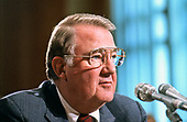 United States Attorney General Edwin Meese, III testifies before the US Senate Committee on Governmental Subcommittee on Oversight of Government Management on Capitol Hill in Washington, DC on July 8, 1987.<br /> Credit: Ron Sachs / CNP