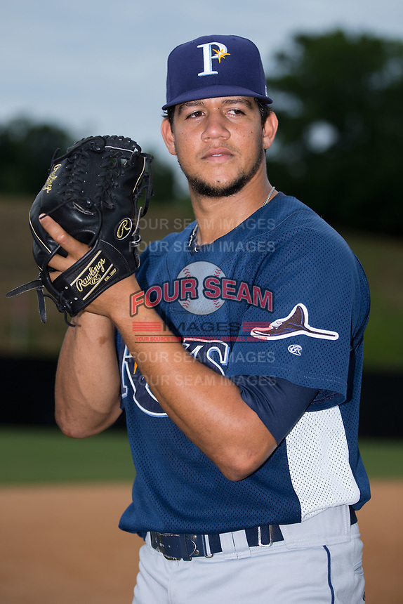 Princeton Rays pitcher Jeffrey Rosa (27) poses for a photo prior to the game against the Danville Braves at American Legion Post 325 Field on June 25, 2017 in Danville, Virginia.  The Braves walked-off the Rays 7-6 in 11 innings.  (Brian Westerholt/Four Seam Images)