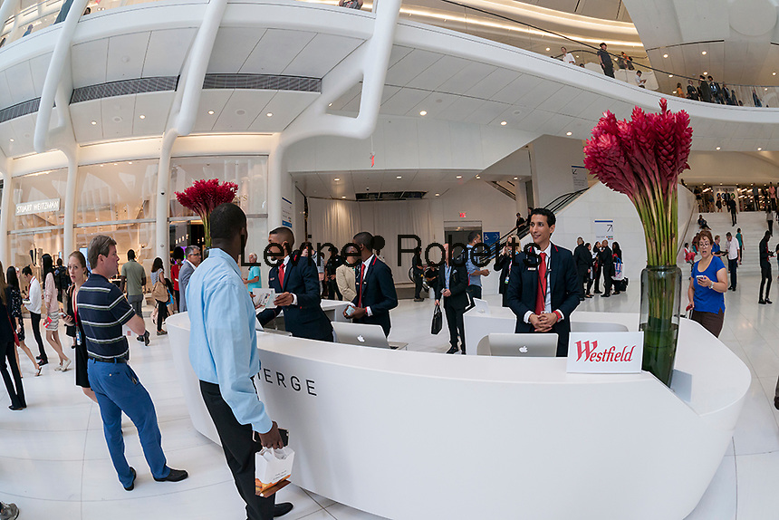 The concierge desk in the World Trade Center Transportation Hub, known as the Oculus, on Tuesday, August 16, 2016 during the grand opening of Westfield's retail spaces. The 350,000 square foot retail space will feature over 100 stores when they all open, including a now opened Apple Store. The mall opens almost 15 years after the World Trade Center terrorist attack.  (© Richard B. Levine)