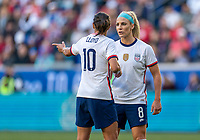 HARRISON, NJ - MARCH 08: Carli Lloyd #10 and Julie Ertz #8 of the United States talk during a game between Spain and USWNT at Red Bull Arena on March 08, 2020 in Harrison, New Jersey.