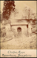 BNPS.co.uk (01202 558833)<br /> Pic: AlexanderBagnall/BNPS<br /> <br /> 19th century -  the Hope Mausoleum after its construction.<br /> <br /> Back from the dead - Before and after photos show how a 19th century mausoleum was brought back from the underworld thanks to a life saving restoration. <br /> <br /> Hope Mausoleum in Dorking, Surrey, was erected as a stately tomb in 1818 but 60 years ago it fell into disrepair and became buried by soil. <br /> <br /> However, following the recent completion of an extensive restoration the Grade II listed building has been returned to its former glory. <br /> <br /> Proprietors Mole Valley District Council spearheaded the project after employee Alex Bagnall discovered the tip of the building while investigating the surrounding area. <br /> <br /> After securing a &pound;1m grant from the heritage lottery fund the project began, with architects, stonemasons, ground workers and volunteers all descending on the historic plot.