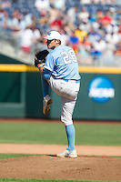 North Carolina Tar Heels pitcher Reilly Hovis #28 pitches during Game 3 of the 2013 Men's College World Series between the North Carolina State Wolfpack and North Carolina Tar Heels at TD Ameritrade Park on June 16, 2013 in Omaha, Nebraska. The Wolfpack defeated the Tar Heels 8-1. (Brace Hemmelgarn/Four Seam Images)