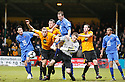 Danny Wright of Cambridge United puts goalkeeper Joe Welch of Histon under pressure during the Blue Square Bet Premier match between Cambridge United and Histon at the Abbey Stadium, Cambridge on 1st January, 2011.© Kevin Coleman 2011