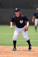 GCL Yankees 1 second baseman Ryan Lindemuth (2) during the second game of a doubleheader against the GCL Braves on July 1, 2014 at the Yankees Minor League Complex in Tampa, Florida.  GCL Braves defeated the GCL Yankees 1 by a score of 3-1.  (Mike Janes/Four Seam Images)