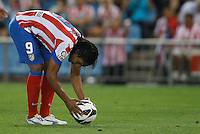 27.08.2012 SPAIN -  La Liga 12/13 Matchday 2th  match played between Atletico de Madrid vs Athletic Club de Bilbao (4-0) with hat-trick Radamel Falcao at Vicente Calderon stadium. The picture show  Radamel Falcao Garcia (Colombian striker of At. Madrid)