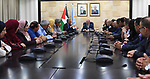 Palestinian Prime Minister Mohammad Ishtayeh meets with figures fron Tulkarm Governorate, at his headquarter in the West Bank city of Ramallah on May 29, 2019. Photo by Prime Minister Office