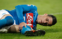 Calcio, Serie A: Napoli, stadio San Paolo, 21 ottobre 2017.<br /> Napoli's Jose Maria Callejon lies on the pitch during the Italian Serie A football match between Napoli and Inter at Napoli's San Paolo stadium, October 21, 2017.<br /> UPDATE IMAGES PRESS/Isabella Bonotto