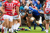 Zach Mercer and Dave Atwood of Bath Rugby take on the Gloucester Rugby defence. Gallagher Premiership match, between Bath Rugby and Gloucester Rugby on September 8, 2018 at the Recreation Ground in Bath, England. Photo by: Patrick Khachfe / Onside Images