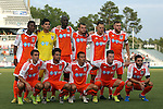 08 July 2015: Carolina's starters. Front row (left to right): Austin Da Luz, Nazmi Albadawi, Kupono Low, Wes Knight, Blake Wagner. Back row (left to right): Tiyi Shipalane (RSA), Akira Fitzgerald, Mamadou Futty Danso (GAM), Simone Bracalello (ESP), Neil Hlavaty, Connor Tobin. The Carolina RailHawks hosted the Fort Lauderdale Strikers at WakeMed Stadium in Cary, North Carolina in a North American Soccer League 2015 Fall Season match. The game ended in a 1-1 tie.