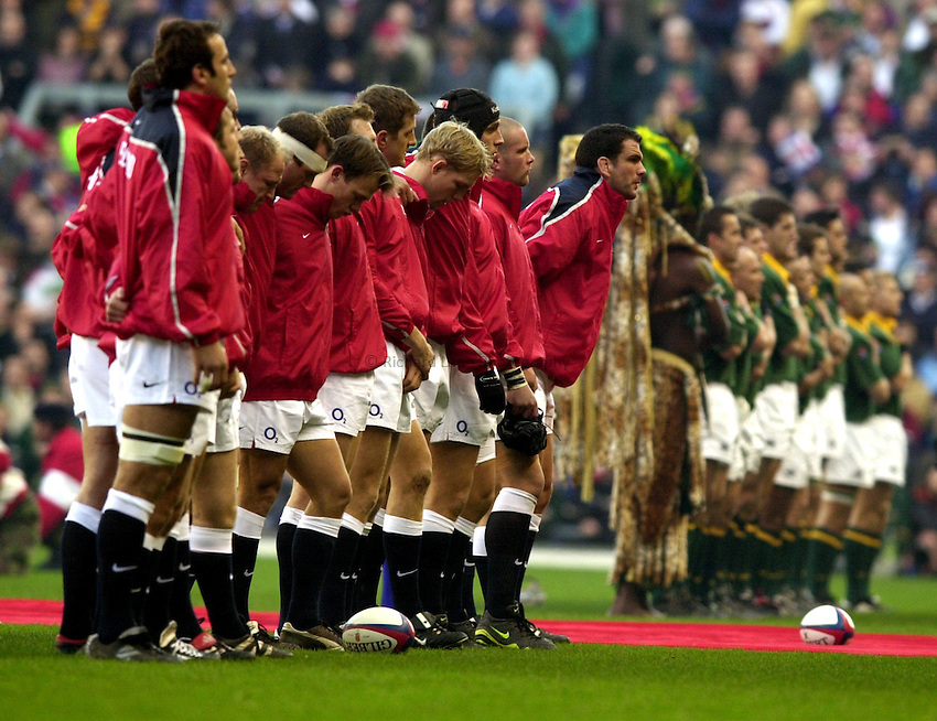Photo: Richard Lane..England v South Africa. Investec Challenge at Twickenham. 23/11/2002..England line up for the National Anthem with South Africa.