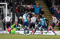 Sam Jones of Grimsby Town goes close with a shot at goal during the Sky Bet League 2 match between Grimsby Town and Wycombe Wanderers at Blundell Park, Cleethorpes, England on 4 March 2017. Photo by Andy Rowland / PRiME Media Images.