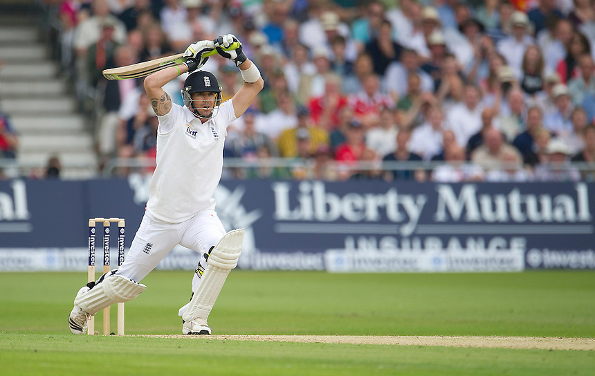 England's Kevin Pietersen offers no shot to a ball<br /> <br />  (Photo by Stephen White/CameraSport) <br /> <br /> International Cricket - First Investec Ashes Test Match - England v Australia - Day 1 - Wednesday 10th July 2013 - Trent Bridge - Nottingham<br /> <br /> &copy; CameraSport - 43 Linden Ave. Countesthorpe. Leicester. England. LE8 5PG - Tel: +44 (0) 116 277 4147 - admin@camerasport.com - www.camerasport.com