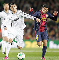Real Madrid's Cristiano Ronaldo (l) and FC Barcelona's Pedro Rodriguez during Copa del Rey - King's Cup semifinal second match.February 26,2013. (ALTERPHOTOS/Acero) /NortePhoto