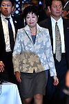 November 29, 2016, Tokyo, Japan - Gov. Yuriko Koike arrives for a four-party meeting to review costs and venues for the 2020 Tokyo Olympics and Paralympics at a Tokyo hotel on Tuesday, November 29, 2016. The four top-level representatives of the International Olympic Committee, 2020 Games organizers, the Tokyo Metropolitan and Japanese governments discussed details regarding the venues for rowing/canoe and volleyball based on proposals by the metropolitan government.  (Photo by Natsuki Sakai/AFLO) AYF -mis-