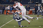 New Mexico receiver Marcus Williams (88 ) is tackled by Nevada defensive back Austin Arnold (28) in the first half of an NCAA college football game in Reno, Nev., Saturday, Nov. 2, 2019. (AP Photo/Tom R. Smedes)