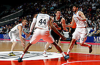 Real Madrid's Jeycee Carroll  Marcus Slaughter Nikola Mirotic and Brose's Casey Jacobsen during Euroliga match. February 28,2013.(ALTERPHOTOS/Alconada)