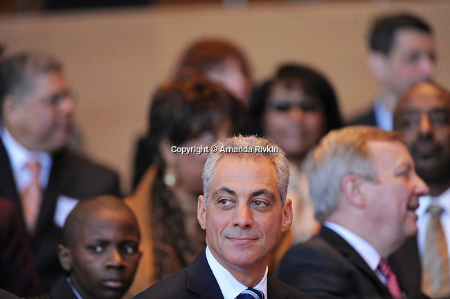 Chicago Mayor Elect Rahm Emanuel appears on stage at his inauguration ceremony in Millennium Park in Chicago, Illinois on May 16, 2011.