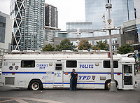 A police command post vehicle outside of Central Park in New York on Tuesday, September 22, 2015 for Pope Francis' visit to the park. While in New York the Holy Father will have a motorcade in Central Park where 80,000 people who received tickets will see him.  (© Richard B. Levine)
