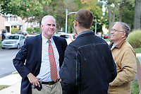 10/16/10 9:29:33 AM -- Springfield, PA<br />  -- Republican Congressional candidate Pat Meehan (L) speaks with Joe Fraatz, 26, and his father Ron Fraatz (R), 61, October 16, 2010 in Springfield, Pennsylvania. Meehan faces incumbent Democrat Bryan Lentz in the Nov. 2 general election. --  Photo by William Thomas Cain/Cain Images
