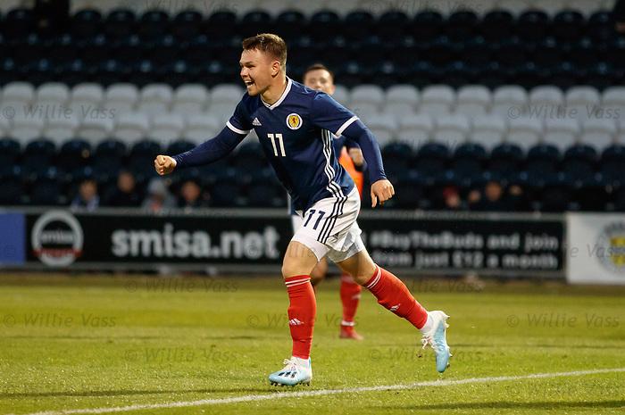 05.09.2019 Scotland u-21 v San Marino, European u-21 Championship 2021 Qualifying Round: Glenn Middleton celebrates after scoring goal no 2