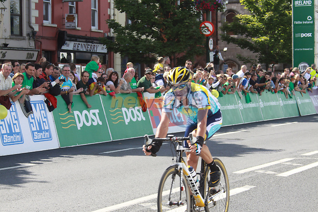 Lance Armstrong (USA) Astana crosses the finish line on The Quays in Waterford City at the end of Stage1 of the 2009 Tour of Ireland, running 196km from the Ritz-Carlton Hotel Powerscourt, Enniskerry to Waterford, Ireland. 21st August 2009.<br /> (Photo by Eoin Clarke/NEWSFILE)