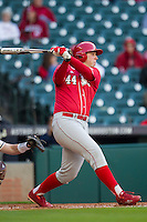 Nebraska Cornhuskers designated hitter Ben Miller (44) follows through on his swing during Houston College Classic against the Texas A&M Aggies on March 6, 2015 at Minute Maid Park in Houston, Texas. Texas A&M defeated Nebraska 2-1. (Andrew Woolley/Four Seam Images)
