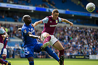 Sol Bamba of Cardiff City and James Chester of Aston Villa during the Sky Bet Championship match between Cardiff City and Aston Villa at the Cardiff City Stadium, Cardiff, Wales on 12 August 2017. Photo by Mark  Hawkins / PRiME Media Images.