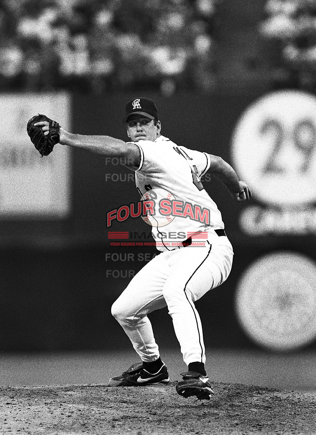 Troy Percival of the California Angels at Anaheim Stadium in Anaheim,California during the 1996 season. (Larry Goren/Four Seam Images)
