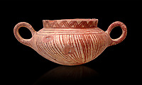 Very early Minoan rounded 2 handled pot with white and red linear motifs,  vaulted tombs Lebena 3000-2100 BC BC, Heraklion Archaeological  Museum, black background.<br /> <br /> Made of grey clay these pots are the earliest found in the Lebena vaulted tombs