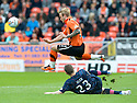 :: DUNDEE UTD'S JOHNNY RUSSELL HURDLES A CHALLENGE FROM HEARTS' GARY GLEN :: .15/05/2011   Copyright  Pic : James Stewart.sct_jsp013_dundee_utd_v_hearts .James Stewart Photography 19 Carronlea Drive, Falkirk. FK2 8DN      Vat Reg No. 607 6932 25.Telephone      : +44 (0)1324 570291 .Mobile              : +44 (0)7721 416997.E-mail  :  jim@jspa.co.uk.If you require further information then contact Jim Stewart on any of the numbers above.........