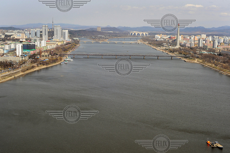 Pyongyang and the Taedong River seen from the Yanggakdo Hotel..
