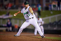 Dayton Dragons relief pitcher Patrick Riehl (33) delivers a pitch during a game against the Cedar Rapids Kernels on May 10, 2017 at Fifth Third Field in Dayton, Ohio.  Cedar Rapids defeated Dayton 6-5 in ten innings.  (Mike Janes/Four Seam Images)