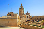 Cathedral church tower and ruins inside citadel castle walls Il-Kastell, Victoria Rabat, Gozo, Malta