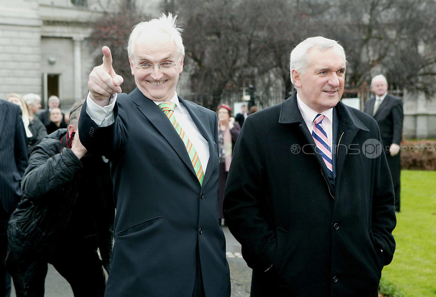 28/11/2007.Green Party TD John Gormley & An Taoiseach Bertie Ahern TD at the turning on of the Christmas lights at Leinster House, Dublin..Photo: Gareth Chaney Collins