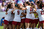ORLANDO, FL - DECEMBER 03: Teammates surround Tierna Davidson #10 of Stanford University to celebrate their victory over UCLA during the Division I Women's Soccer Championship held at Orlando City SC Stadium on December 3, 2017 in Orlando, Florida. Stanford defeated UCLA 3-2 for the national title. (Photo by Jamie Schwaberow/NCAA Photos via Getty Images)