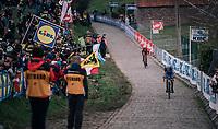 Niki Terpstra (NED/Quick-Step Floors) dropping Mads Pedersen (DEN/Trek Segafredo) and leading the race over the last ascent of the Paterberg<br /> <br /> 102nd Ronde van Vlaanderen 2018 (1.UWT)<br /> Antwerpen - Oudenaarde (BEL): 265km