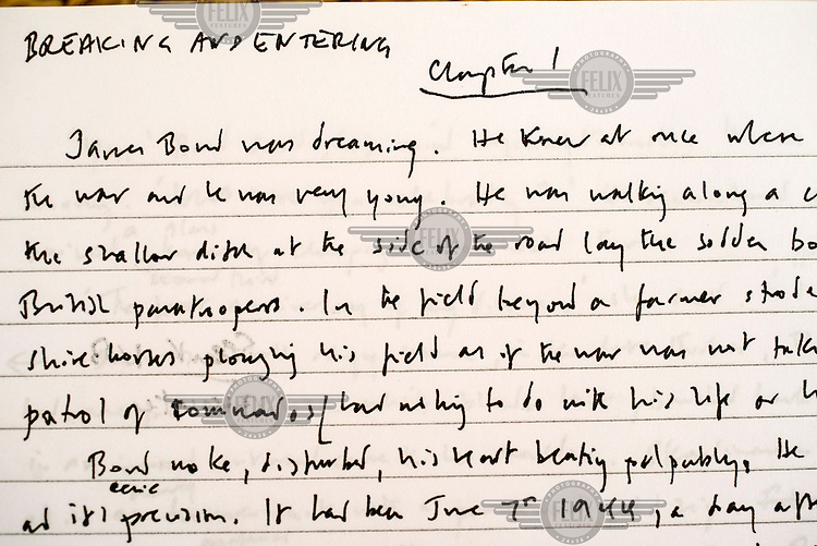 Author William Boyd's handwritten manuscript for his James Bond novel Solo.