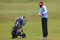 Mark Duggan (Highfield) on the 12th green during Round 2 of the Ulster Boys Championship at Portrush Golf Club, Portrush, Co. Antrim on the Valley course on Wednesday 31st Oct 2018.<br /> Picture:  Thos Caffrey / www.golffile.ie<br /> <br /> All photo usage must carry mandatory copyright credit (&copy; Golffile | Thos Caffrey)