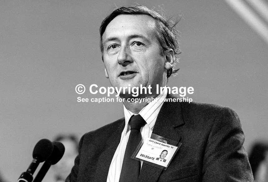 Richard Livsey, MP, Liberal Party, UK, 19860912RL2. Later Baron Livsey of Talgarth, Baron Livsey, died 16 September 2010.<br /> <br /> Copyright Image from Victor Patterson, 54 Dorchester Park, Belfast, UK, BT9 6RJ<br /> <br /> t1: +44 28 9066 1296<br /> t2: +44 28 9002 2446<br /> m: +44 7802 353836<br /> <br /> e1: victorpatterson@me.com<br /> e2: victorpatterson@gmail.com<br /> <br /> www.victorpatterson.com<br /> <br /> IMPORTANT: Please see my Terms and Conditions of Use at www.victorpatterson.com
