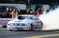 Oct. 5, 2012; Mohnton, PA, USA: NHRA pro stock driver Larry Morgan during qualifying for the Auto Plus Nationals at Maple Grove Raceway. Mandatory Credit: Mark J. Rebilas-