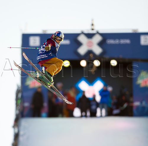 27.02.2016. Toyen, Big Jump Oslo, Norway.  Red Bull X Games Oslo 2016. Ladies Ski Big Air Final. Kelly Sildaru of Estonia in action during the Ladies Ski Big Air Final at the Red Bull X Games Oslo 2016 in Toyen Big Jump  Oslo, Norway.