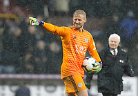 Leicester City's Kasper Schmeichel celebrates at the final whistle <br /> <br /> Photographer Rich Linley/CameraSport<br /> <br /> The Premier League - Burnley v Leicester City - Saturday 16th March 2019 - Turf Moor - Burnley<br /> <br /> World Copyright © 2019 CameraSport. All rights reserved. 43 Linden Ave. Countesthorpe. Leicester. England. LE8 5PG - Tel: +44 (0) 116 277 4147 - admin@camerasport.com - www.camerasport.com