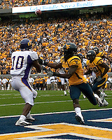 East Carolina wide receiver Jamar Bryant (10) makes a touchdown catch. The WVU Mountaineers defeated the East Carolina Pirates 35-20 at Mountaineer Field at Milan Puskar Stadium, Morgantown, West Virginia on September 12, 2009.