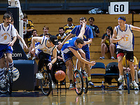 Players from Berkeley Revolution Unicycle Basketball perform at halftime during California's game against UCLA at Haas Pavilion in Berkeley, California on January 20th, 2013.   California defeated UCLA, 70-65.