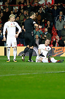 Referee, Stuart Attwell signals a penalty during the Sky Bet Championship match between Brentford and Leeds United at Griffin Park, London, England on 4 November 2017. Photo by Carlton Myrie.