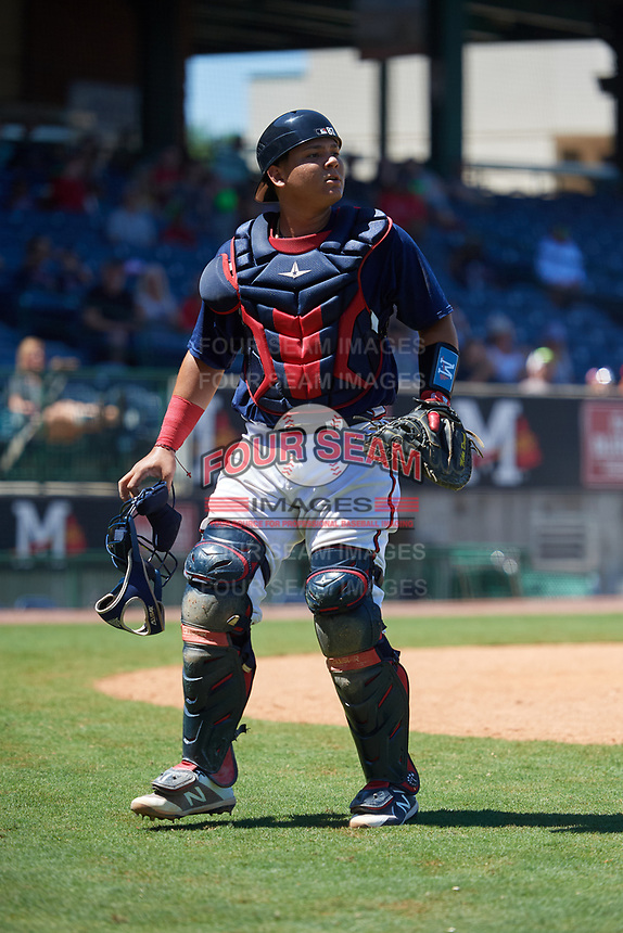Mississippi Braves catcher Jonathan Morales (28) during a Southern League game against the Jacksonville Jumbo Shrimp on May 5, 2019 at Trustmark Park in Pearl, Mississippi.  Mississippi defeated Jacksonville 1-0 in ten innings.  (Mike Janes/Four Seam Images)