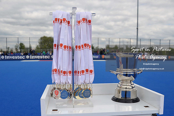 The medals and trophy are ready for the presentation. Timperley v Formby (Men's Over 50's Trophy Final). Pitch 2. Men's Knockout Finals 2017. Lee Valley Hockey and Tennis Centre. London. UK. 29/04/2017. ~ MANDATORY CREDIT Garry Bowden/SIPPA - NO UNAUTHORISED USE - +44 7837 394578